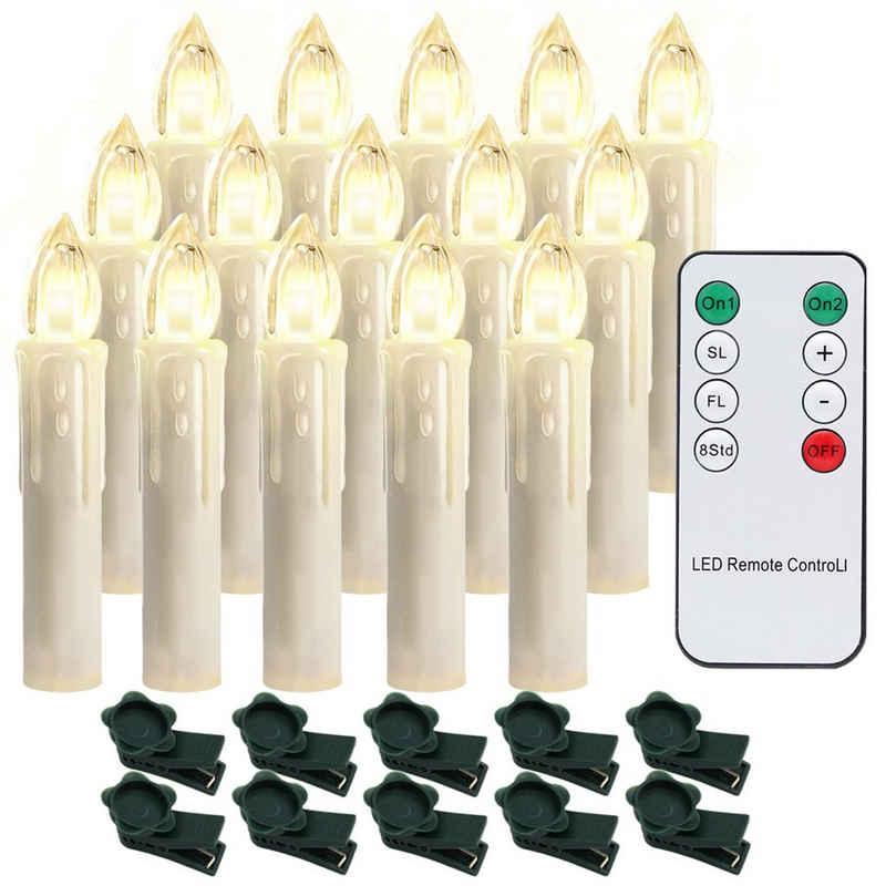 Einfeben LED-Christbaumkerzen »10-100x LED Christbaumkerzen Weihnachtskerzen kabellose Weihnachtsbeleuchtung Kerzen Party Warmweiß«