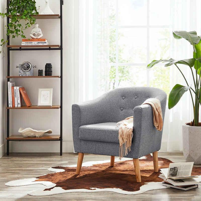 VASAGLE Relaxliege »LAC005G01 LAC005M01«, Loungesessel, mit Sitzkissen, Beine aus Massivholz, modern, für Wohnzimmer, Büro