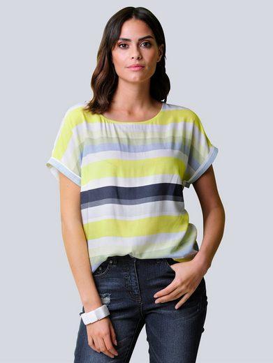 Alba Moda Shirtbluse allover im großen Streifen-Dessin