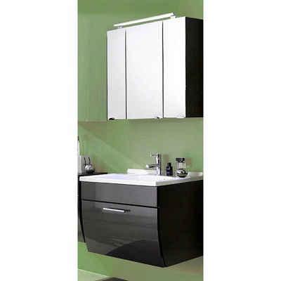 Lomadox Waschtisch-Set »TALONA-02«, (Spar-Set, 2-tlg), Waschplatz- Hochglanz anthrazit, 70cm Waschtisch inkl. Becken, LED, B x H x T ca.: 70 x 200 x 49,5 cm