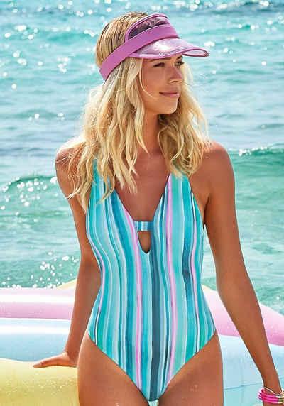 Venice Beach Badeanzug, mit vertikalen Streifen und Strukturware