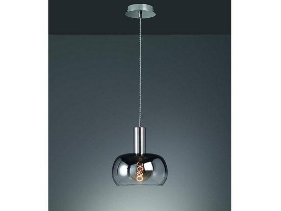 FISCHER & HONSEL LED Pendelleuchte, Kugel-Lampe rund Lampen-Schirm Rauch-Glas, moderne Vintage Esstisch-Lampe dimmbar, Kugel-Pendel für über Esstisch in Küche und Esszimmer