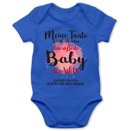 Shirtracer Shirtbody »Meine Tante meint, ich wäre das süßeste Baby der Welt. - Strampler Motive - Baby Body Kurzarm - Strampler & Bodies« geschenk für mädchen 3 monate