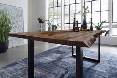 Junado® Baumkantentisch »Mephisto«, Akazie Massivholz nussbaumfarben 26mm natürliche Baumkante