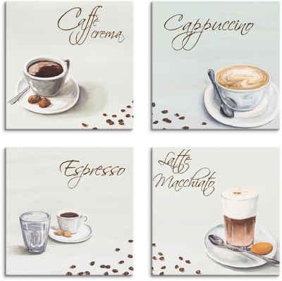 Artland Leinwandbild »Cappuccino Espresso Latte Macchiato«, Getränke (4 Stück)