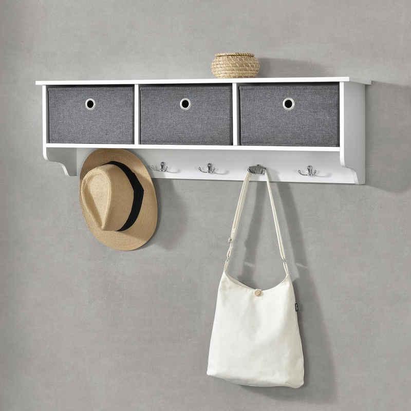 en.casa Wandgarderobe, »Horsens« 100x20x30cm Wandregal mit 3 Aufbewahrungsboxen Garderobenhaken Weiß/Grau