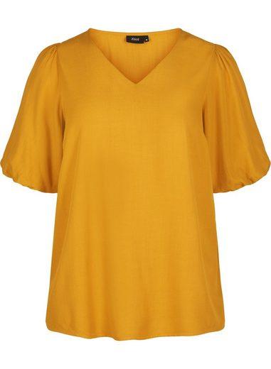 Zizzi Kurzarmbluse Große Größen Damen Bluse mit 3/4 Ärmeln und V Ausschnitt