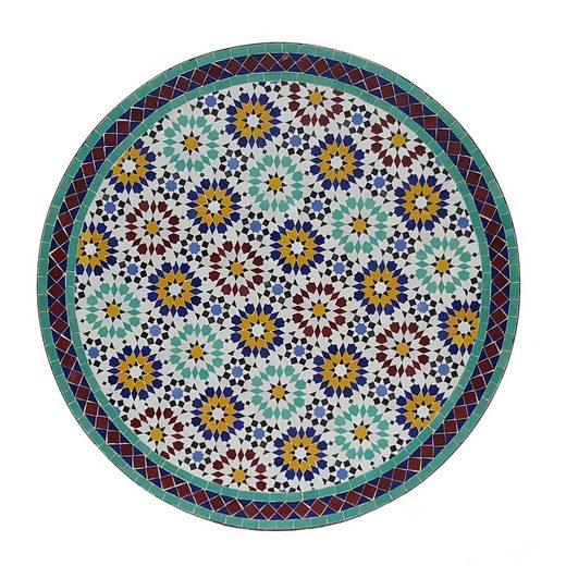 Casa Moro Gartentisch »Marokkanischer Mosaiktisch Ankabut Ø 100cm rund mit Gestell H 73 cm Kunsthandwerk aus Marrakesch, Mediterraner Gartentisch Esstisch Balkontisch Bistrotisch MT2225«, Handmade