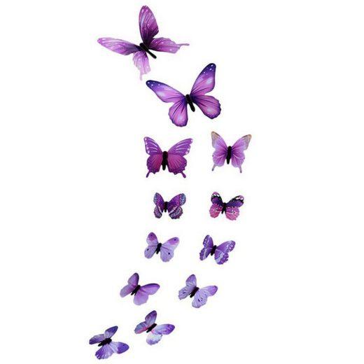Masbekte Wandsticker, 12x Leuchtend Schmetterling, Wanddeko Wandsticker, Aufkleber, Schlafzimmer Dekor, 12CM / 10CM / 6.5CM