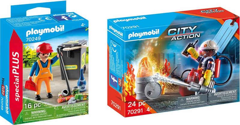 Playmobil® Konstruktions-Spielset »Straßenreiniger (70249), Special Plus und Geschenkset Feuerwehr (70291), City Action«, (Set, 40 St), Made in Europe