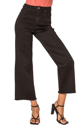 Nina Carter Schlagjeans »3519« Damen Retro High Waist Straight Jeans Stretch Boyfriend Schlaghose