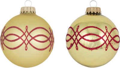 Krebs Glas Lauscha Weihnachtsbaumkugel »CBK40230« (4 Stück), mit Banddekor