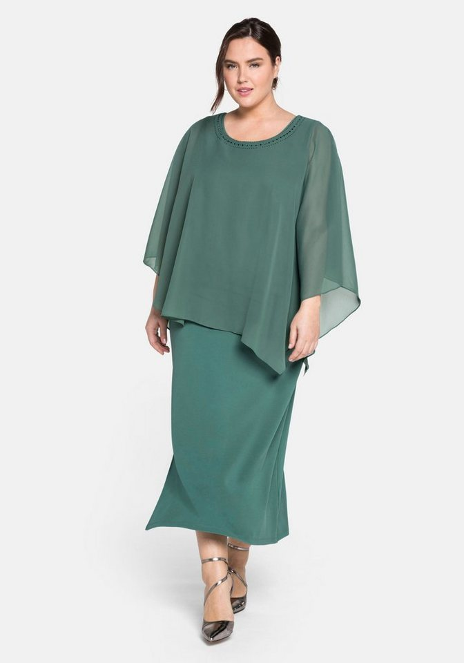 Festtagsmode - Sheego Abendkleid im Lagenlook › grün  - Onlineshop OTTO