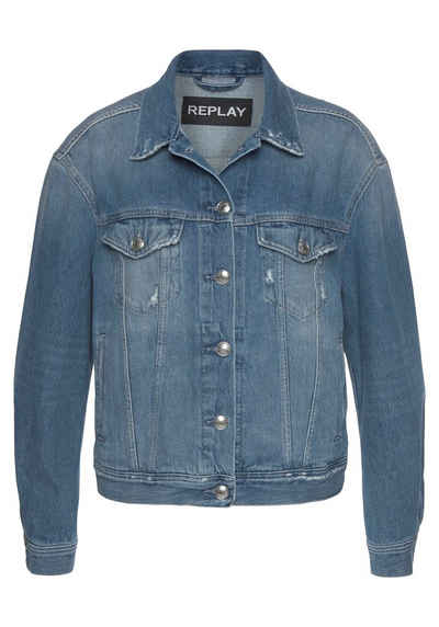 Replay Jeansjacke Oversized, mit glitzerndem Logo hinten