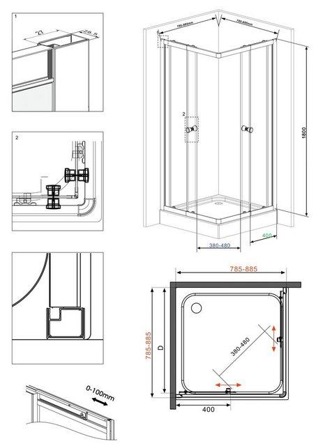 Duschen und Zubehör - WELLTIME Eckdusche »Trento«, Variabel verstellbar 80 90 cm, Duschkabine chrom  - Onlineshop OTTO