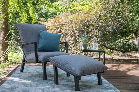 Siena Garden Loungesessel »Loungesessel Rockford« (1-St), Aluminium, mit Fußhocker, inkl. Auflagen