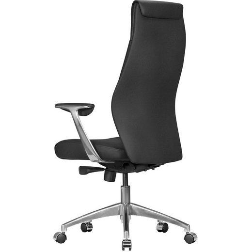 Amstyle Chefsessel »SPM1.141« Bürostuhl OXFORD 1 Echtleder Schwarz Schreibtischstuhl X-XL 120kg Synchronmechanik Chefsessel Kopfstütze hoch