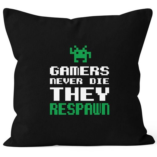 MoonWorks Dekokissen »Kissenbezug Kissenhülle Gamers never die they respawn Spruch Pixel Zocker 90er 80er Retro MoonWorks® 40x40«
