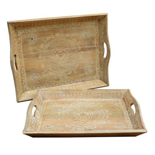 Casa Moro Dekotablett »Orientalische Serviertabletts Parvin 2er Set aus Massivholz handbemalt & mit Steinchen verziert, Dekotablett Servierplatten Gastro-Tablett, RK18« (2 Stück, Set), Kunsthandwerk