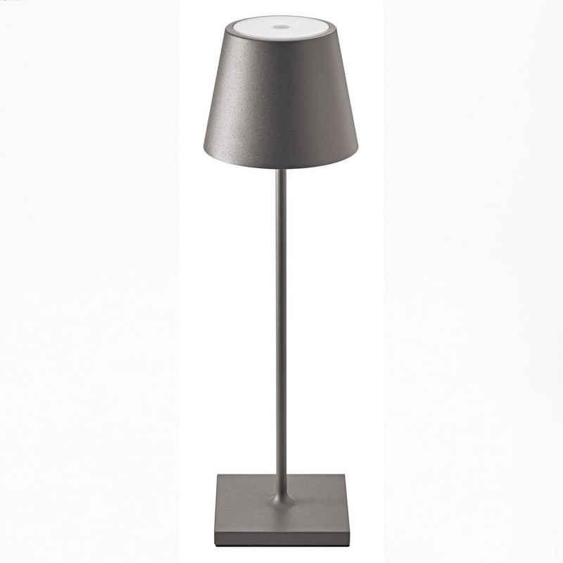 SIGOR LED Tischleuchte »Nuindie - Anthrazitfarbene LED Akku-Tischlampe Indoor & Outdoor, dimmbar und aufladbar mit Easy-Connect, 9h Leuchtdauer«