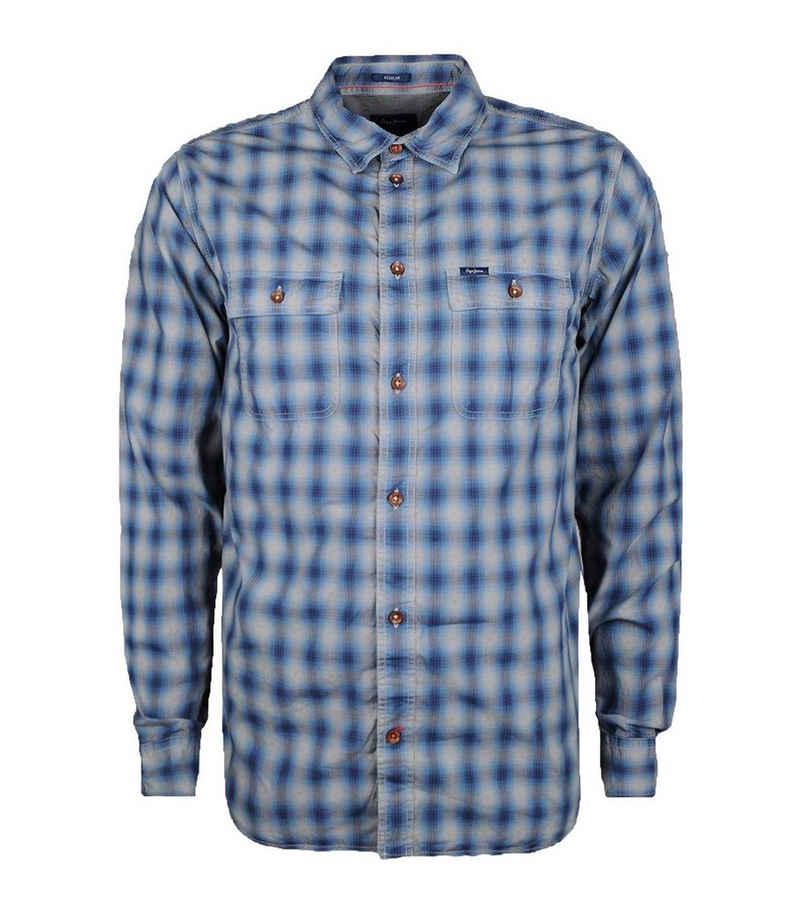 Pepe Jeans Hemd »Pepe Jeans Mavis Langarm-Hemd trendiges Herren Freizeit-Hemd Karo-Hemd mit Brusttaschen Grau/Blau«