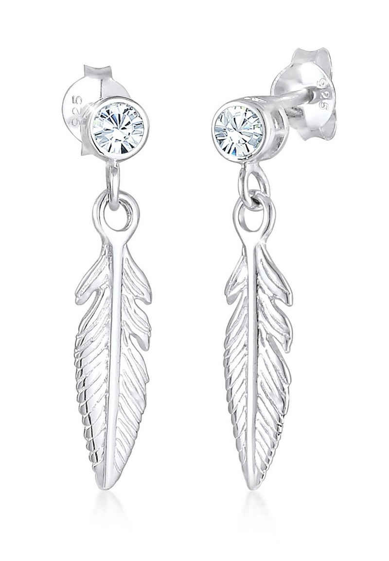 Elli Paar Ohrhänger »Ohrhänger Feder mit Kristalle Silber«