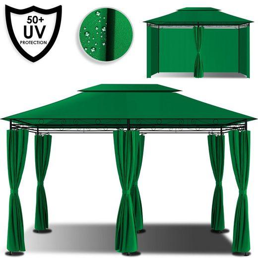 KESSER Pavillon, Festzelt 4x3m Luxus Gartenzelt inkl Seitenwänden mit Reißverschlüssen Gartenpavillon eckig Gartenlaube UV-Schutz 50+