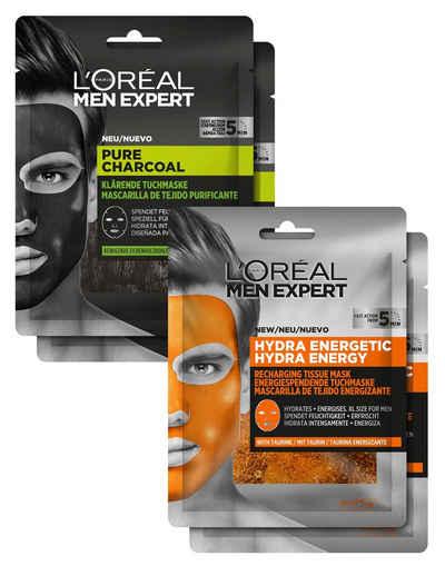 L'ORÉAL PARIS MEN EXPERT Gesichtsmasken-Set »Pure Charcoal und Hydra Energy« Set, 4-tlg.