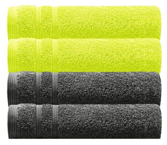 Lashuma Handtuch Set »London« (Set, 4-tlg), 4x Gästetücher 30x50 cm, Hochwertige Badezimmer Handtücher Klein