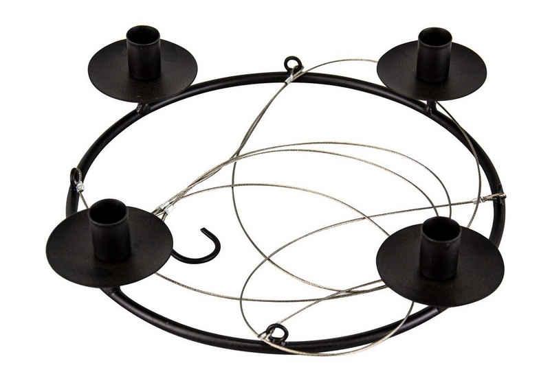 Parts4Living Adventskranz »Metall Ring mit 4 Stabkerzenhaltern Kranz zum Hängen skandinavisches Design schwarz 37x7x74 cm«, besonders stilvoll