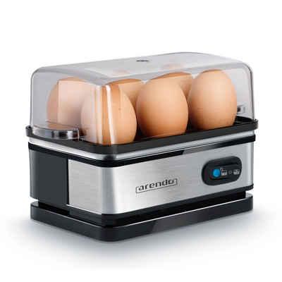 Arendo Eierkocher, Anzahl Eier: 6 St., 400 W, Eierkocher Edelstahl mit Warmhaltefunktion für 6 Eier