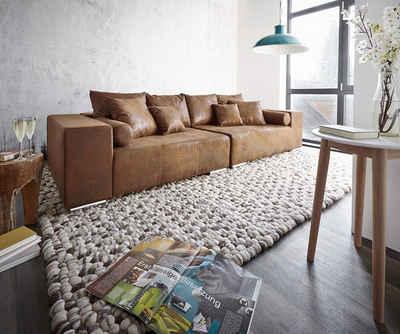 DELIFE Big-Sofa »Marbeya«, Braun 285x115 cm Antik Optik mit Kissen Bigsofa
