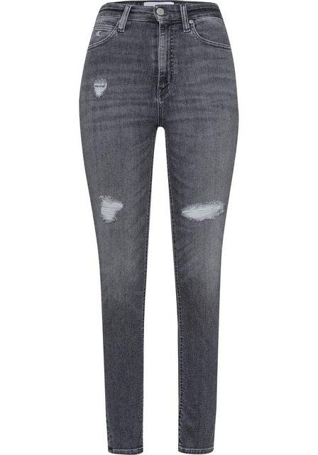 Hosen - Calvin Klein Jeans Skinny fit Jeans »HIGH RISE SKINNY ANKLE« mit Calvin Klein Jeans Logo Badge Destroyed Effekten ›  - Onlineshop OTTO