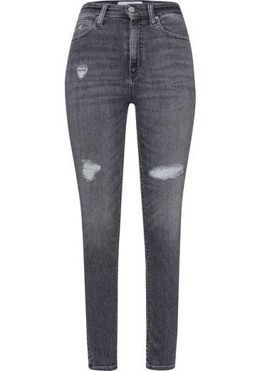 Calvin Klein Jeans Skinny-fit-Jeans »HIGH RISE SKINNY ANKLE« mit Calvin Klein Jeans Logo-Badge & Destroyed Effekten