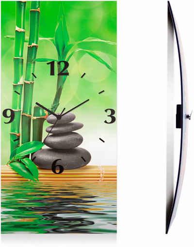 Artland Wanduhr »Spa Konzept Zen Basaltsteine« (3D Optik gebogen, lautlos, ohne Tickgeräusche, nicht tickend, geräuschlos - wählbar: Funkuhr o. Quarzuhr, moderne Uhr für Wohnzimmer, Küche etc. - Stil: modern)