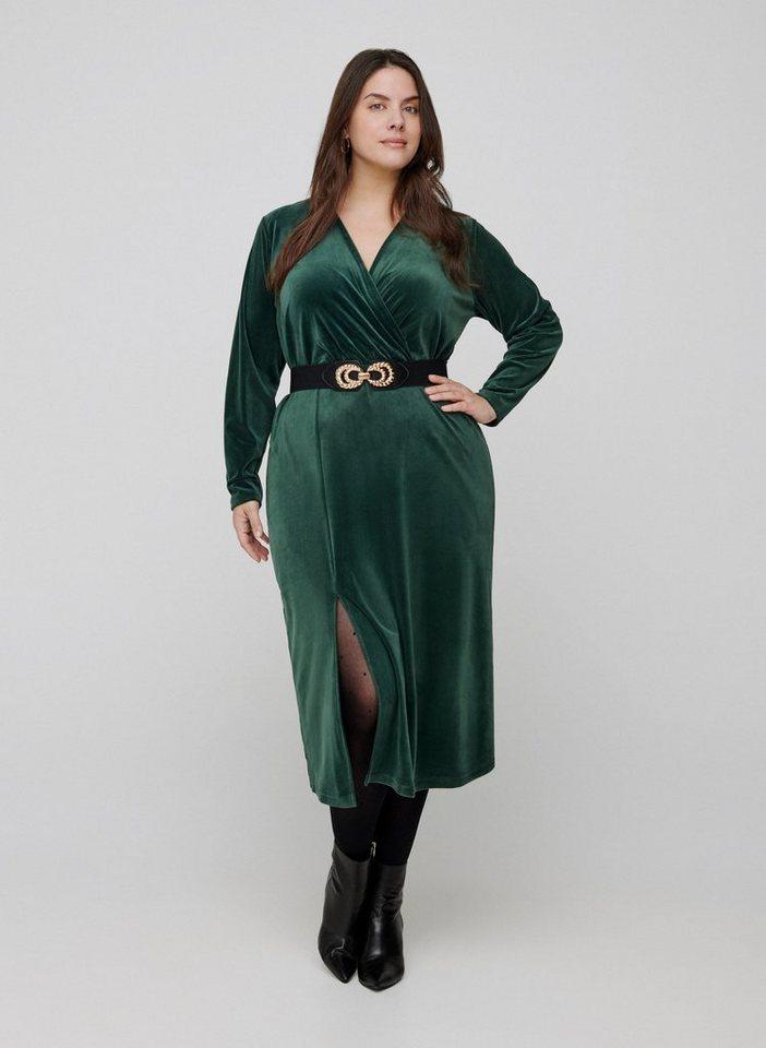 Festtagsmode - Zizzi Abendkleid Große Größen Damen Einfarbiges Velourkleidmit Wickellook und langen Ärmeln ›  - Onlineshop OTTO