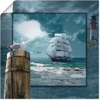 Artland Wandbild »Maritime Collage mit Segelschiff«, Boote & Schiffe (1 Stück), in vielen Größen & Produktarten -Leinwandbild, Poster, Wandaufkleber / Wandtattoo auch für Badezimmer geeignet