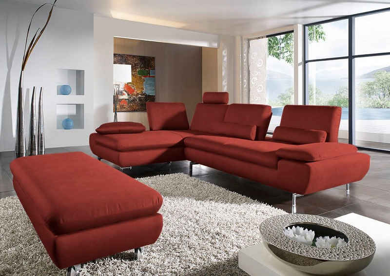 W.SCHILLIG Ecksofa »miles«, inklusive Sitztiefenverstellung, wahlweise mit ergolux®-Funktion, mit glänzenden Füßen