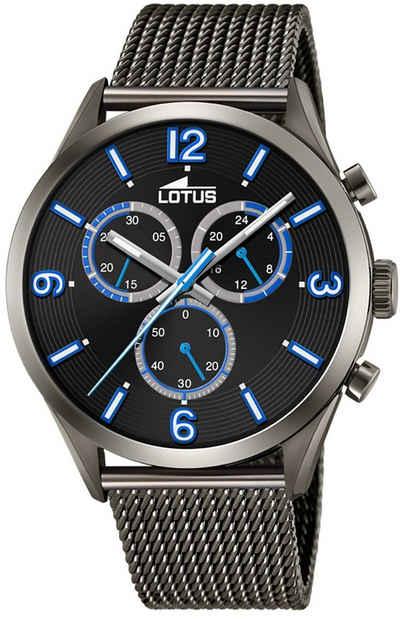 Lotus Multifunktionsuhr »UL18650/1 LOTUS Herren Uhr Sport 18650/1 Edelstahl«, (Analoguhr), Herren Armbanduhr rund, groß (ca. 43mm), Edelstahlarmband schwarz