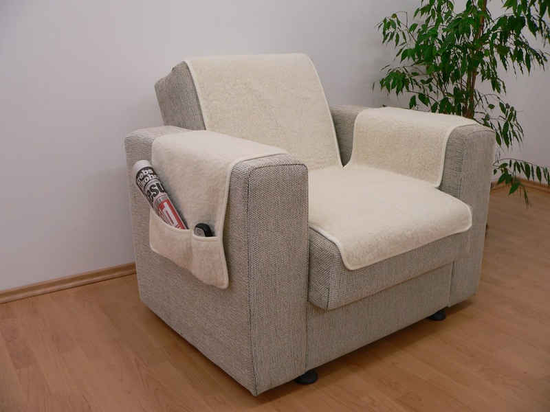 Hussen-Set »Kombinierter Armlehnen- und Sesselschoner Wolle ecru 150 cm x 50 cm + 2 mal 70 cm x 40 cm mit 2 Taschen«, Licardo, Wolle