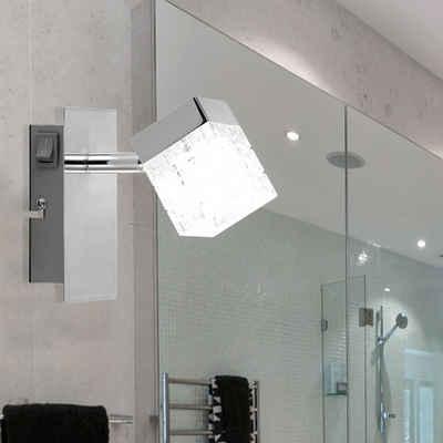 Globo Wandleuchte, LED Wandstrahler Wandspot schwenkbarer Strahler chrom matt H 13 cm Wohnzimmer Schlafzimmer