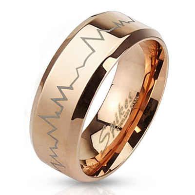 BUNGSA Fingerring »Ring Herzschlag Rosegold aus Edelstahl Unisex« (inkl. Schmuckbeutel aus Organza), Damen Herren Verlobung Ehering Valentinstag