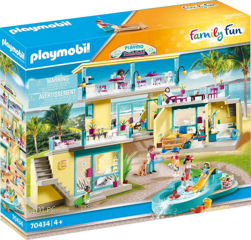 Playmobil® Konstruktions-Spielset »PLAYMO Beach Hotel (70434), Family Fun«, (401 St), Made in Germany