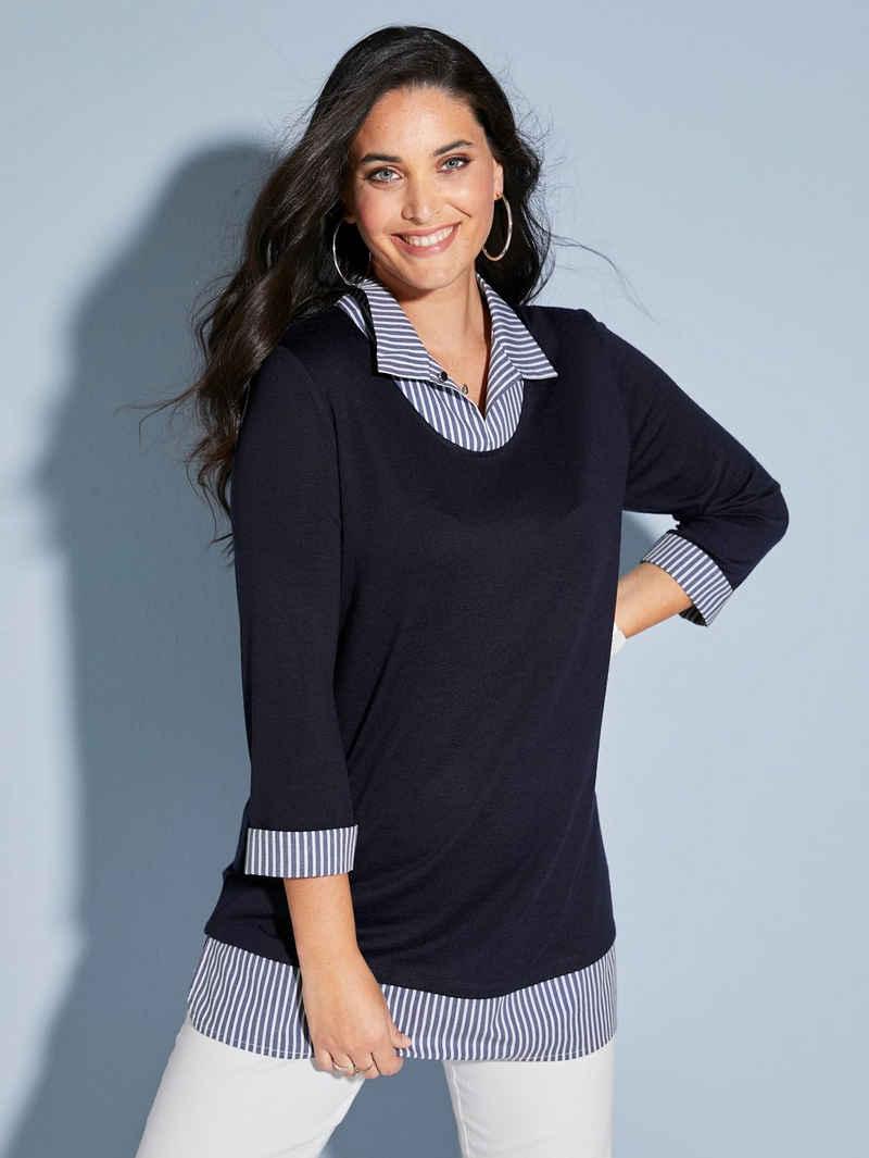 MIAMODA 2-in-1-Shirt mit Webeinsatz am Kragen und Saum
