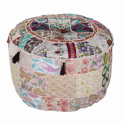 Casa Moro Pouf »Indischer Patchwork Pouf Desna Groß Ø 55cm Höhe 30cm inklusive Füllung, Runder Polsterhocker Sitzkissen Handmade Sitzpouf für einfach schöner Wohnen« (1-St), Handmade, MA1012