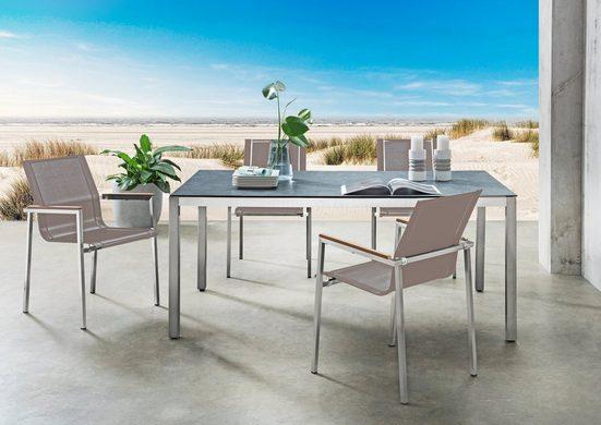 DESTINY Essgruppe »Altos-Sao Paulo«, 5-tlg., 4 Stühle, Tisch 180x100 cm, Edelstahl/Glaskeramik