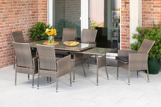 MERXX Gartenmöbelset »Sevilla«, (7-tlg), 6 Sessel mit SItzkissen, ausziehbarer Tisch, steinbeige