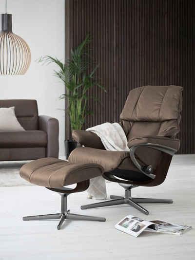 Stressless® Relaxsessel »Reno« (Set, Relaxsessel mit Hocker), mit Hocker, mit Cross Base, Größe S, M & L, Gestell Braun