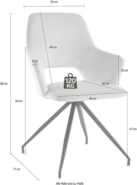 Stühle und Bänke - INOSIGN Armlehnstuhl »Tracy« (Set, 2 Stück), im 1er und 2er Set erhältlich, mit schwarze Metallbeinen, 360°drehbar, in verschiedenen Farbvarianten, Sitzhöhe 47 cm  - Onlineshop OTTO