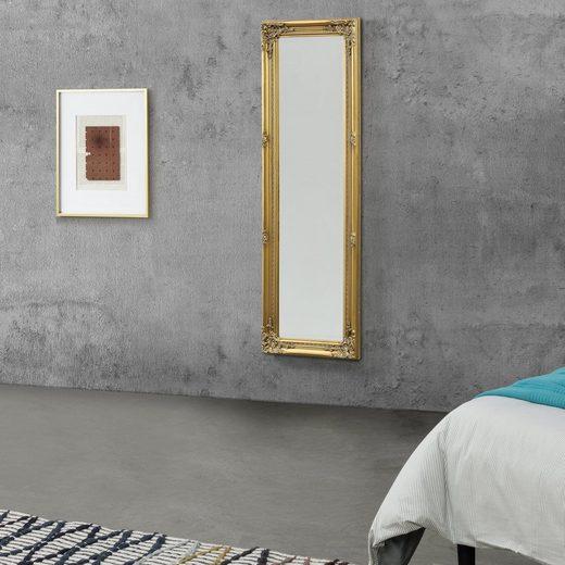 en.casa Wandspiegel, »Livorno« Ganzkörperspiegel 132x42cm Antik Spiegel goldfarben